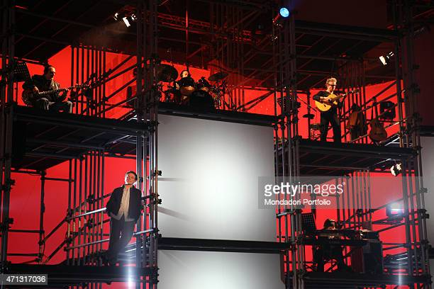 The singer Massimo Ranieri posing for a photo shooting at Canale 5 studios during the special evening of the TV variety show Accus Grande Brugherio...