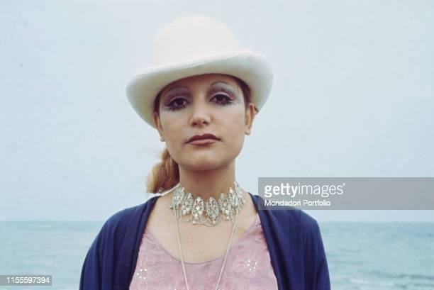 The singer Mia Martini at the sea Nice France 1971