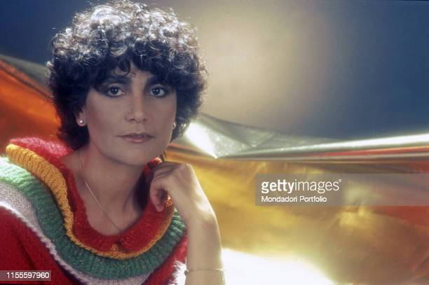 The singer Mia Martini during a photo shooting 1982