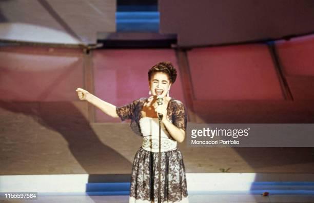 The singer Mia Martini performing at the 39th Sanremo Music Festival Sanremo Italy 1989