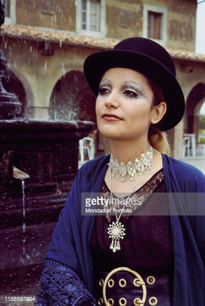 The singer Mia Martini wearing a bowler hat Nice France 1971