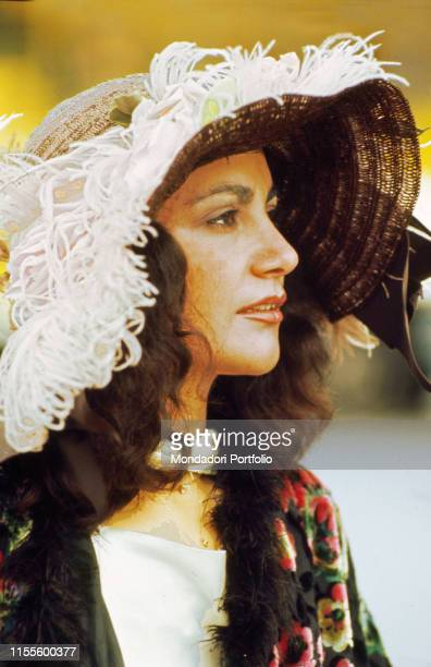 The singer Mia Martini wearing a largebrimmed hat 1978