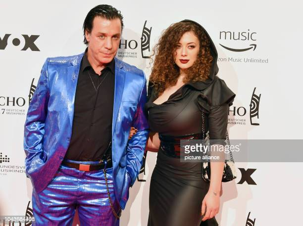 The singer of the band Rammstein, Till Lindemann, and partner Leila Lowfire arrive at the award ceremony of the 26th German music award 'Echo' in...