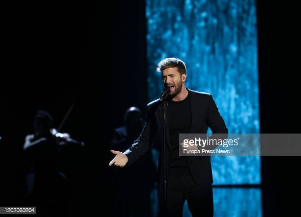 The singer Pablo Alboran during the ceremony of the 34th edition of the 'Goya Cinema Awards' ceremony at Jose Maria Martin Carpena Sports Palace on...