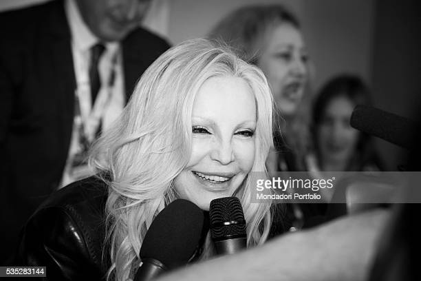 The singer Patty Pravo being interviewed at the 66th Sanremo Music Festival Sanremo Italy February 2016