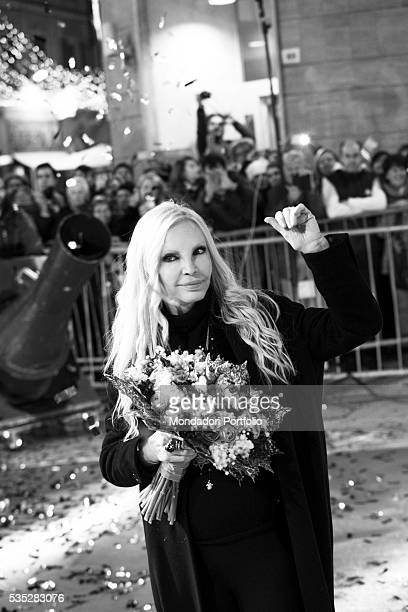 The singer Patty Pravo holding a bunch of flowers at the 66th Sanremo Music Festival Sanremo Italy February 2016