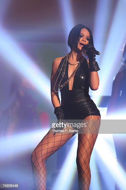 The Singer Rihanna performs during The Dome 42 music show at the TUI Arena on May 25 2007 in Hanover Germany