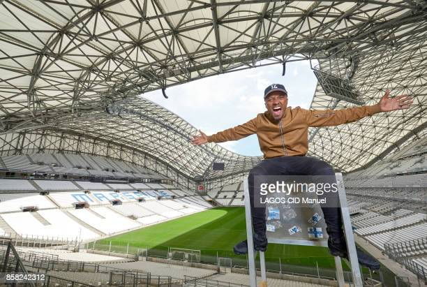 The singer Soprano is photographed for Paris Match in Marseille at the Stade Velodrome on September 19 2017