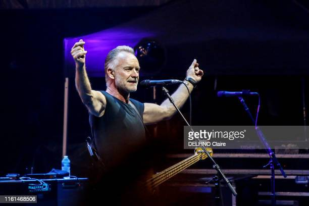 The singer Sting is photographed for Paris Match on stage at the Festival of Carcassonne on July 26, 2019 in Carcassonne, France.