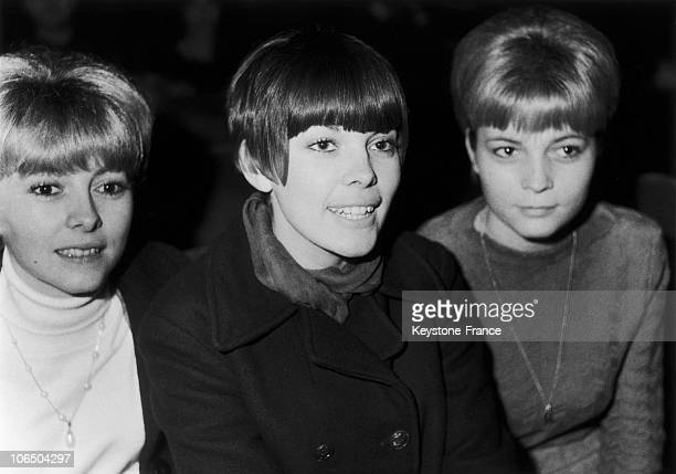 The Singer Surrounded By Her Two Sisters Monique And Christiane On Her First Concert At The Olympia Theater On December 27Th 1965