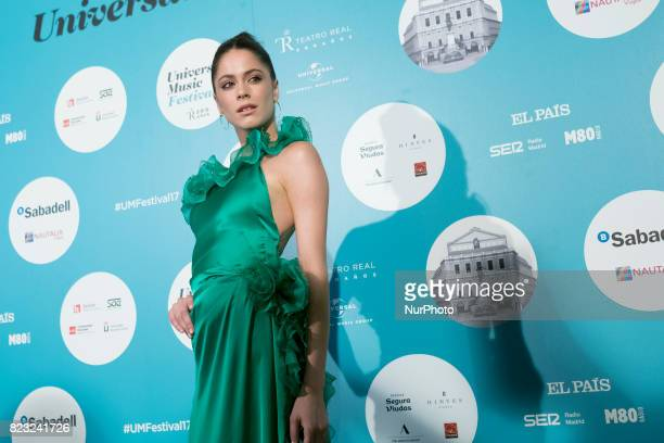 The singer Tini Stoessel attends the 'David Bisbal' photocall at Royal Theater on July 26 2017 in Madrid Spain