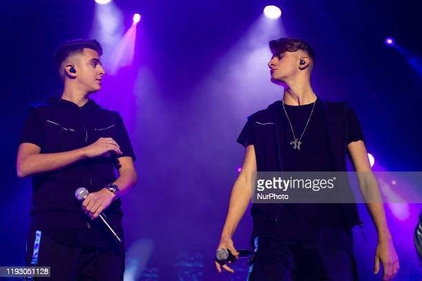 the singers ADEXE and NAU during the Sold Out performance at the Madrid Sports Center in Madrid Spain on January 10 2020