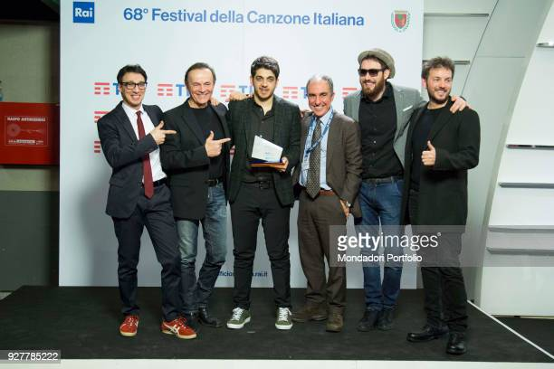 The singers Dodi Battaglia Maldestro Mirkoeilcane and Massimo Di Cataldo at 68th Festival di Sanremo press room Sanremo February 8th 2018
