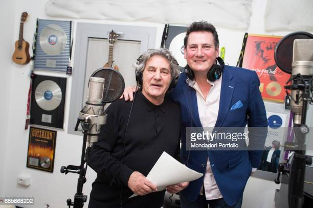 The singers Fausto Leali and Tony Hadley at the recording studio Milan Italy 2nd May 2016