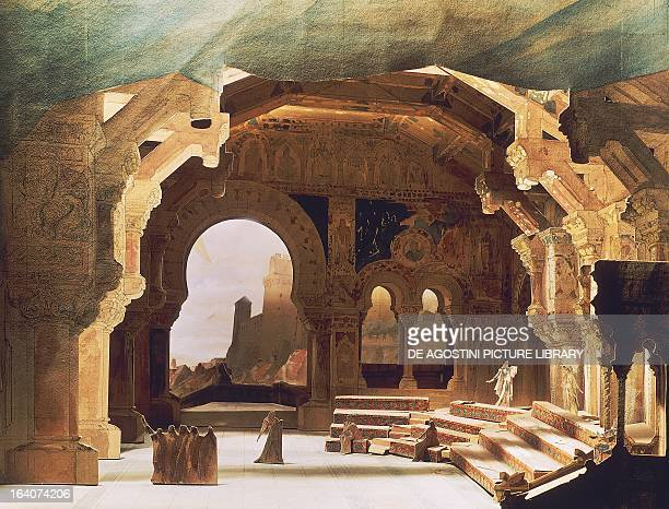 The Singers' hall at Wartburg Castle set design by EugeneLouis Carpezat for Act III of Tannhauser by Richard Wagner performed in Paris in 1895 Paris...