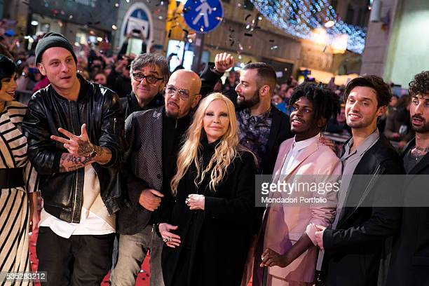 The singers Patty Pravo Enrico Ruggeri Dolcenera Gaetano Curreri Clementino and Dear Jack together at the 66th Sanremo Music Festival Sanremo Italy...
