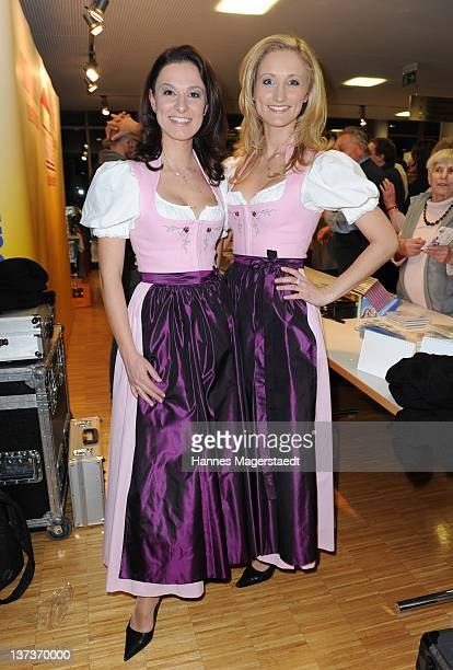 The singers Sigrid and Marina attend the Musikantenstadl tour on January 19 2012 in Essenbach Germany