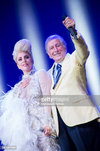 The singersongwriter and actress Lady Gaga and the singer Tony Bennett in duet at Umbria Jazz Perugia Italy 20th July 2015