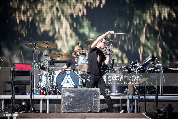 The singersongwriter and frontman of Bastille Dan Smith in concert for the iDays Festival 2017 at the Autodromo Nazionale di Monza Monza Italy 18th...