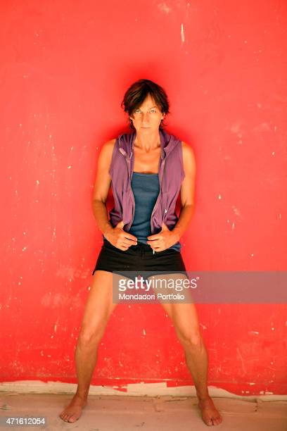'The singersongwriter and musician Gianna Nannini being photo shooted during her pilates training at the gym The Art of Pilates on via Bellezza Milan...
