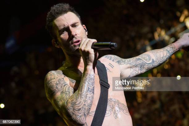 The singersongwriter and voice of Maroon 5 Miley Adam Levine in concert at the Mediolanum Forum in Assago Assago Italy 12th June 2015