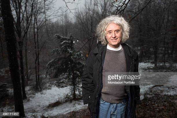 The singersongwriter Angelo Branduardi walking in a wood Bedero Valcuvia Italy 14th February 2014