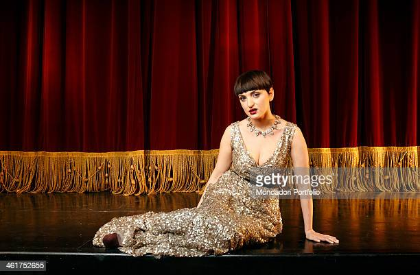 The singersongwriter Arisa in a photo shooting at the Theatre Litta Milan Italy 2012