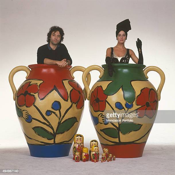 The singersongwriter David Riondino and the actress Eva Robin's inside two big vases in a photo shooting for the TV show 'Matrioska' broadcasted by...
