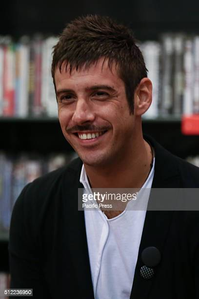 The singersongwriter Francesco Gabbani winners of the category New Proposals at the 66th Sanremo Festival with the song Amen met his fans at...