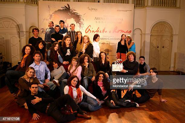 'The singersongwriter Riccardo Cocciante posing with the cast of the musical Giulietta e Romeo at Teatro Nuovo Verona Italy 22nd November 2006 '