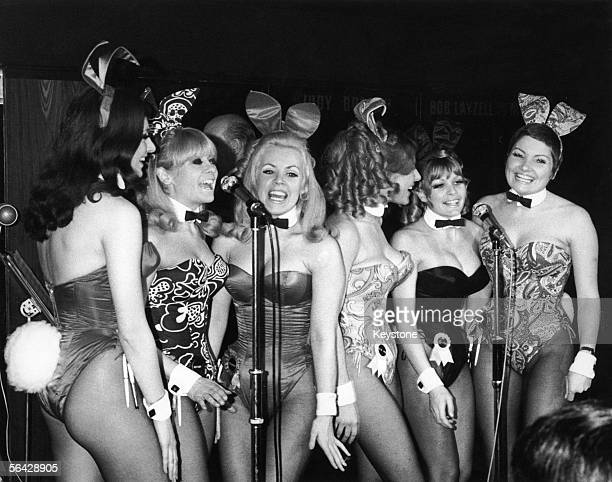 The 'Singing Bunnies' Bunny Girl waitresses at the London Playboy Club perform a song during the club's 'Showtime In The Playroom' spot circa 1972...