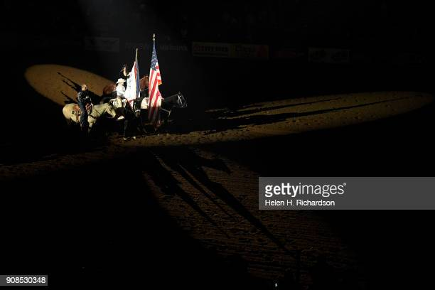 The singing of the national anthem opened the US Bank Pro Rodeo Finals on January 21 2018 in Denver Colorado This was the last day of the National...