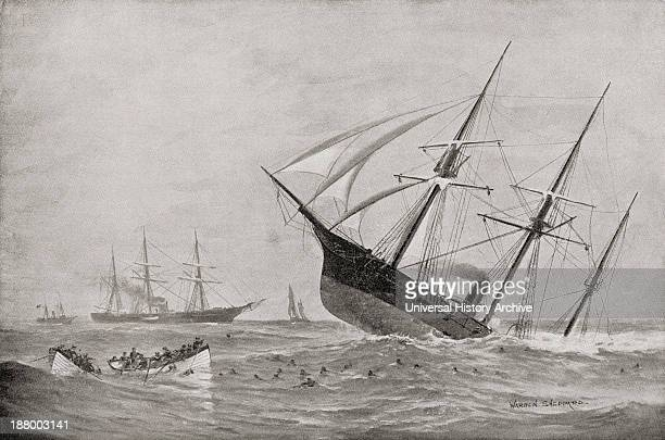The Sinking Of Css Alabama During The Battle Of Cherbourg In 1864 From Famous Men And Great Events Of The 19Th Century