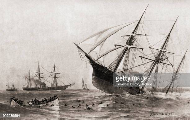 The Sinking of CSS Alabama during The Battle of Cherbourg or the Battle off Cherbourg Singleship action fought during the American Civil War between...