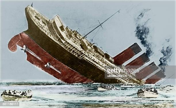 The sinking of the Cunard liner Lusitania 7 May 1915 by a German submarine off the coast of Ireland
