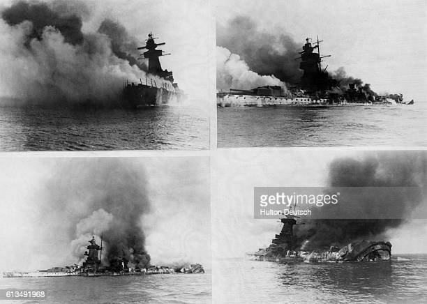 The sinking of the German warship the Admiral Graf Spee which was scuttled by her own crew after being damaged in battle with British cruisers...