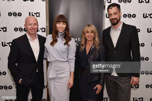 THE SINNER 'The Sinner Cocktail Event' Pictured Chris McCumber President Entertainment Networks Jessica Biel Executive Producer and Star 'The Sinner'...