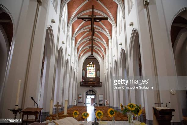 The Sint Rochus Catholic Church in Deurne has been transformed into a covid-19 testing center for the people of Antwerp on August 3, 2020 in...