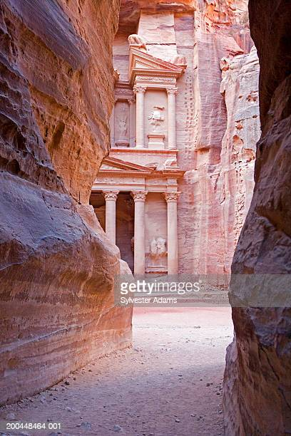 The Siq Canyon; view of Al Khazneh (The Treasury) at back
