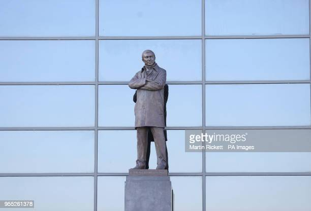 The Sir Alex Ferguson stand at Manchester United's Old Trafford football stadium in Manchester as one of the most successful football managers of all...