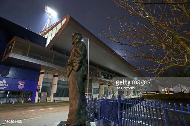 The Sir Alf Ramsey statue stands watch over Portman Rd before the Sky Bet League One match between Ipswich Town and Sunderland at Portman Road on...