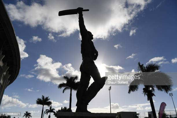 The Sir Vivian Richards statue outside the stadium on Day Two of the 2nd Test match between West Indies and England at Sir Vivian Richards Stadium on...