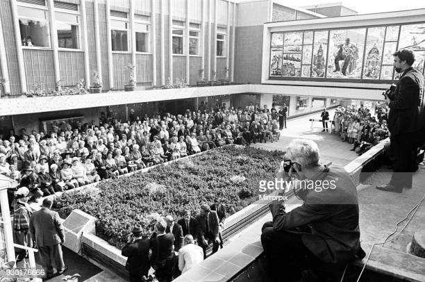The Sir Winston Spencer Churchill Memorial Screen Unveiled by Viscount Cobham to mark completion of Shopping Precinct Dudley Worcestershire Monday...