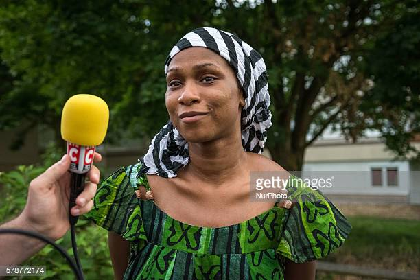 The sister of Adama Traoré Assa speaks at RMC radio in Paris France on July 22 2016 Violence erupted in the northern suburbs of Paris for a second...