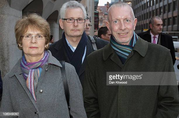 The sister of murdered gay civil servant Ian Baynham Jenny Baynham brother Toney Baynham and close friend George Richardson speak to the press...