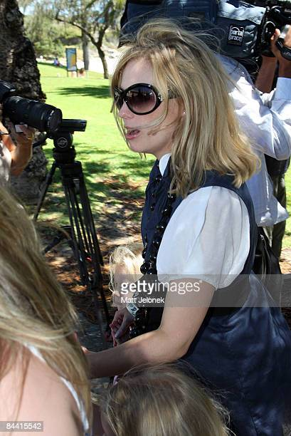 The sister of the late actor Heath Ledger Kate Ledger leaves the press conference held to mark one year since the actor's death at Cottesloe Beach on...