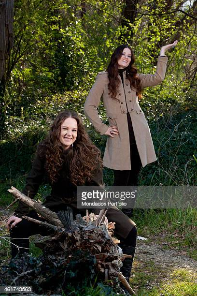The sisters Irene and Alice Fornaciari daughters of Italian singer Zucchero smiling in a wood Alice Fornaciari is the personal stylist of her sister...