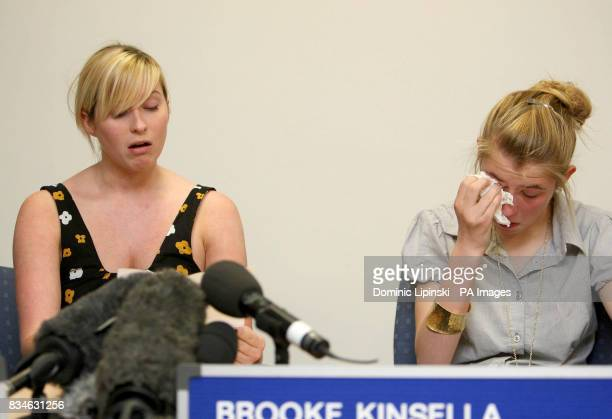 The sisters of murdered Ben Kinsella Brooke Kinsella and Georgia at a press conference in Barking Essex