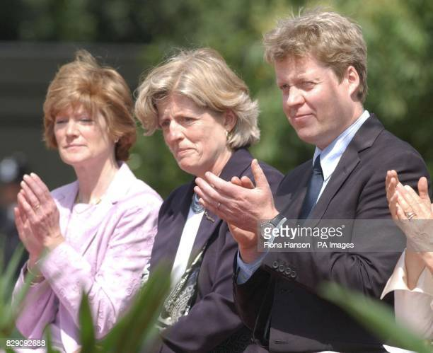 The sisters of the late Diana Princess of Wales Lady Sarah McCorquodale and Lady Jane Fellowes and her brother Earl Spencer at the opening of a...
