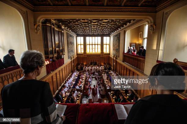 The Sistine Chapel choir perform with the Choir of Her Majesty's Chapel Royal during an Evensong service at the Chapel Royal, St James' Palace on May...